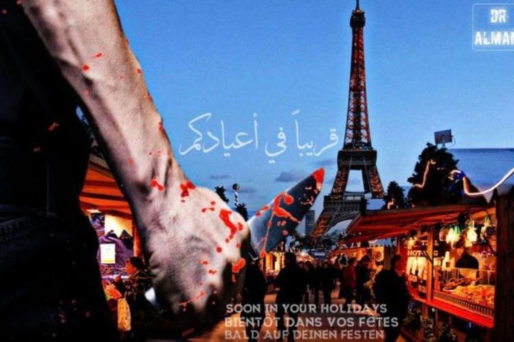 Bức ảnh tháp Eiffel được ghép với một bàn tay cầm dao đầy máu.