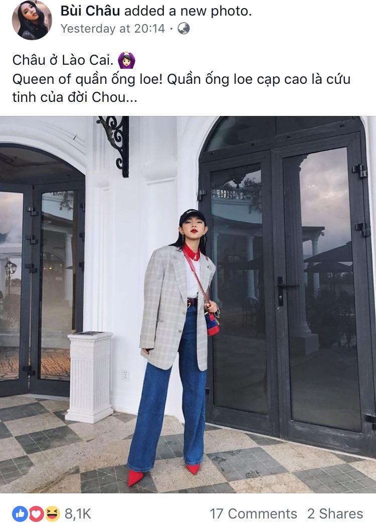 """Châu Bùi tự nhận mình là """"Queen of quần ống loe"""" trong bức hình mới nhất đăng trên facebook."""