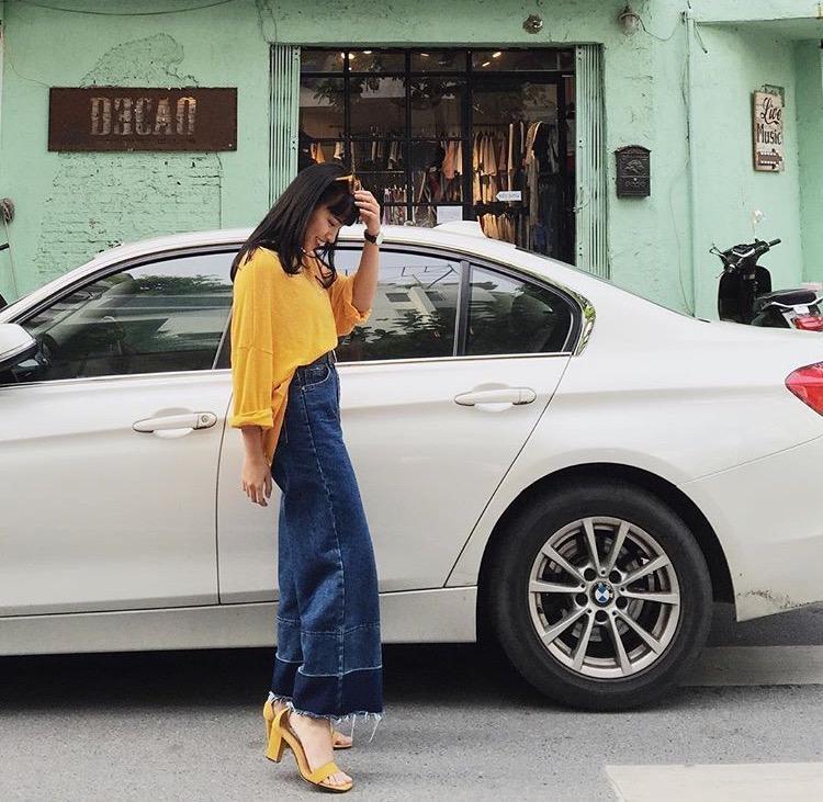 Street style của Châu Bùi cũng thường xuyên xuất hiện chiếc quần đơn giản nhưng lại phù hợp tuyệt đối với vóc dáng của cô nàng.