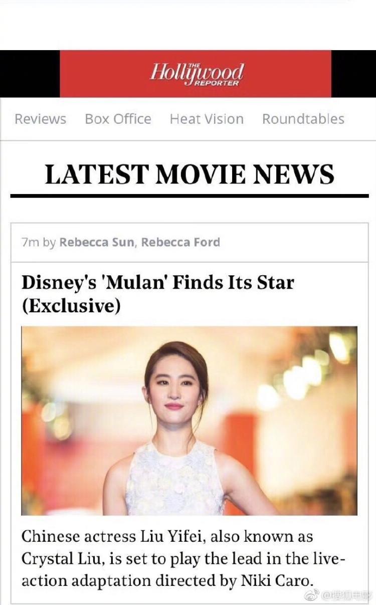 Thông báo chính thức trên trang chủ Hollywood Reporter