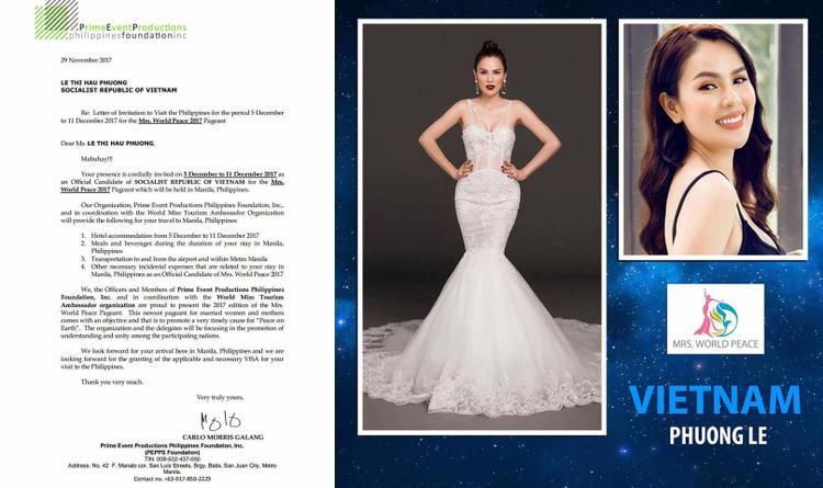 Á hậu Phương Lê đại diện Việt Nam tham dự Mrs World Peace 2017
