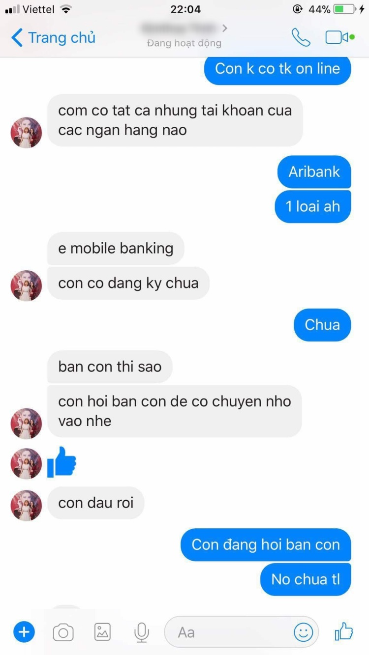 Hacker mạo danh mẹ Thanh Thảo và liên tục yêu cầu fan chuyển tiền cho mình.