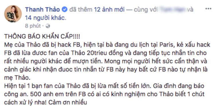 Nữ ca sĩ đăng status thông báo tài khoản Facebook của mẹ cô bị hacker xâm nhập và thực hiện hành vi lừa đảo.