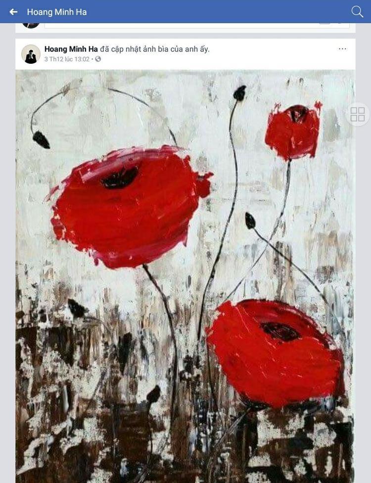 Thậm chí, Hoàng Minh Hà còn cập nhật ảnh bìa trang cá nhân với hình ảnh những bông hoa anh túc đỏ rực, giống với họa tiết trong BST mới nhất của NTK Lê Thanh Hòa.
