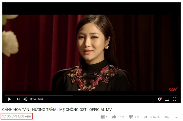 Thành tích ấn tượng trên Youtube của MV nhạc phim mới nhất từ Hương Tràm.
