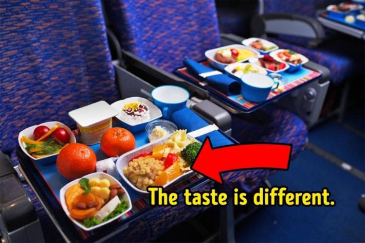 8. Thức ăn trên máy bay sẽ trở nên vô vị: Điều này không phải do lỗi của nhân viên chuẩn bị thức ăn. Lý do là vì khi ở trên cao, vị giác và thính giác của chúng ta sẽ bị hạn chế. Việc thiếu độ ẩm, tiếng ồn báy bay và áp lực thấp cũng là nguyên nhân gây ra cảm giác kém ngon miệng.