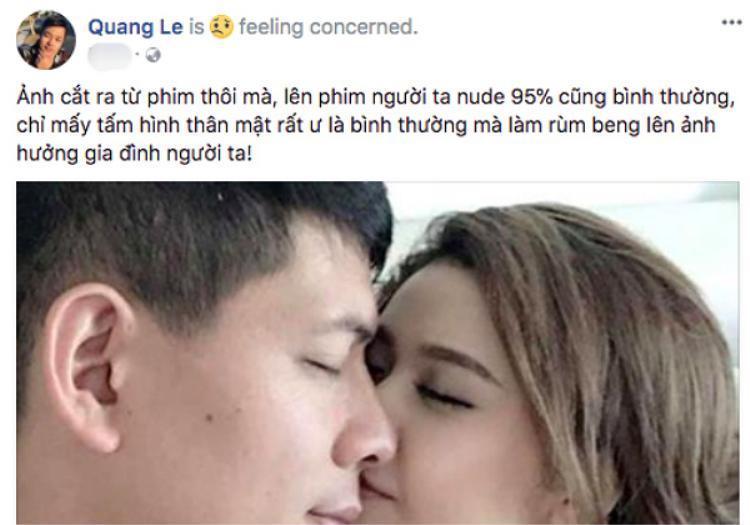 Status bênh vực Tim - Trương Quỳnh Anh của ca sĩ Quang Lê.