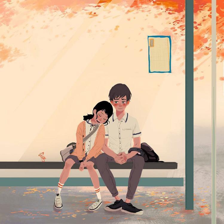 Thời gian chờ xe bus có thể rất chán, nhưng làm sao chán được nếu bên cạnh anh là em, là những hành động ngớ ngẩn của em?