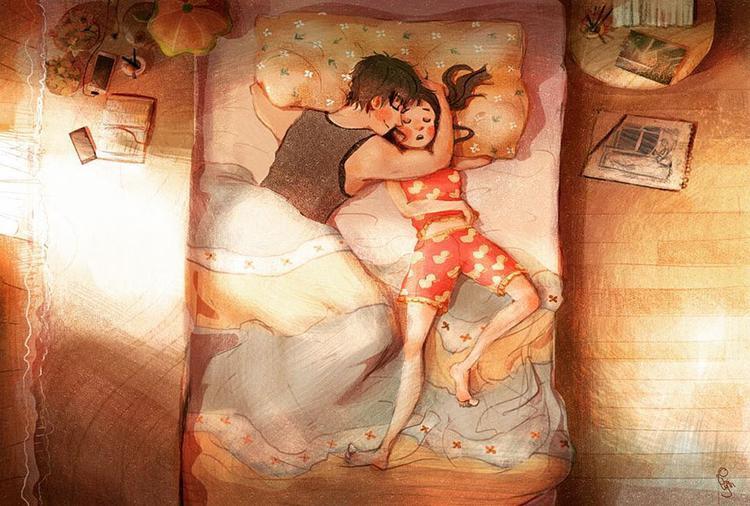 Vòng tay ôm của anh chính là thứ bảo vệ em khỏi những cơn ác mộng hàng đêm.