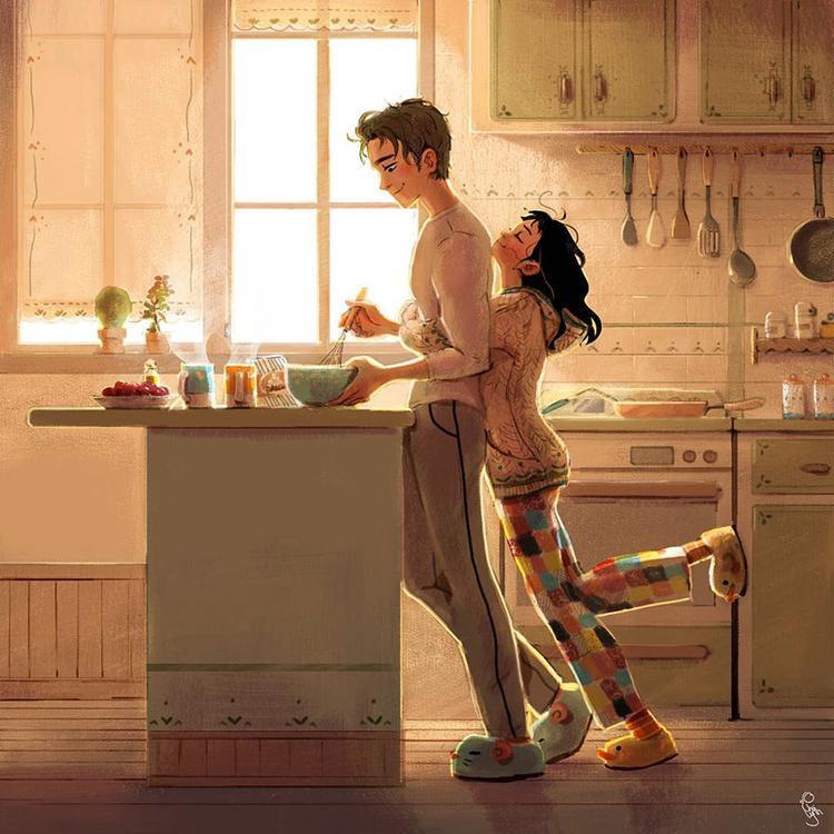 Buổi sáng thức dậy đã thấy anh lọ mọ trong bếp để làm bữa sáng cho em, đấy là điều tuyệt vời nhất của ngày