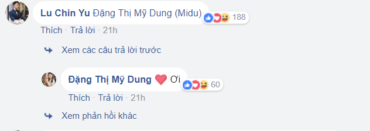 Harry Lu cũng để lại bình luận trên bài đăng của Midu.