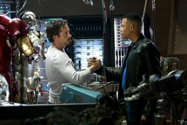 IRON MAN, Robert Downey Jr., Terrence Howard, 2008. ©Paramount