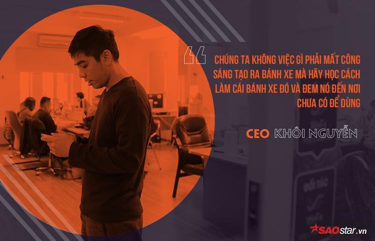 """Theo Khôi, đất nước đang phát triển là cơ hội tốt cho việc khởi nghiệp. """"Thực tế là ở đâu càng có nhiều vấn đề, ở đó càng có nhiều cơ hội. Tại Mỹ tôi không có những cơ hội tốt như ở Việt Nam""""."""