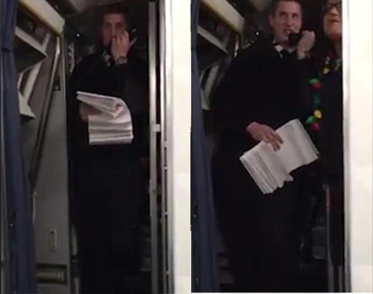 Chàng phi công bất người giới thiệu bạn gái của mình với toàn thể hành khách.
