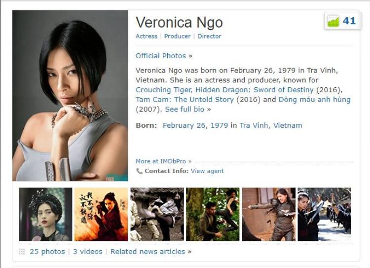 Thông tin của Ngô Thanh Vân trên IMDb kèm thứ hạng hiện tại.