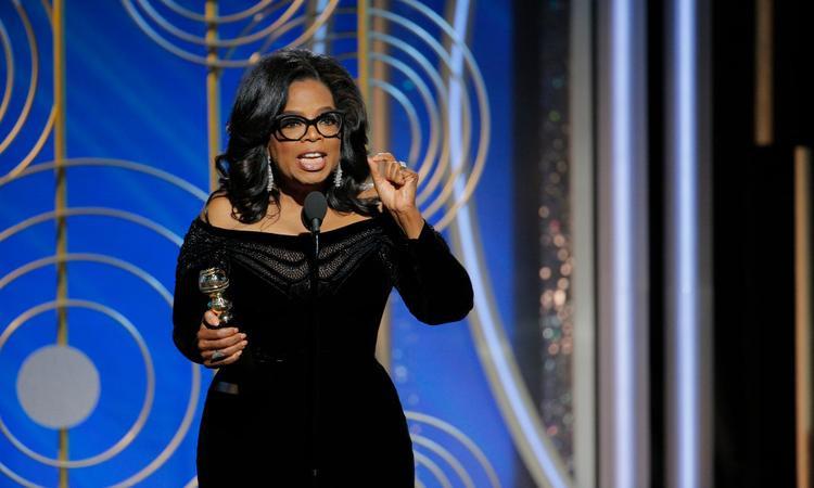 Oprah Winfrey phát biểu tại Quả Cầu Vàng 2018.