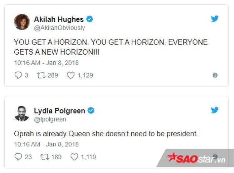 """Akilah Hughes và Lydia Polgreen.Lydia Polgreen khẳng định: """"Oprah đã là Nữ hoàn, cô ấy không cần trở thành Tổng thống""""."""