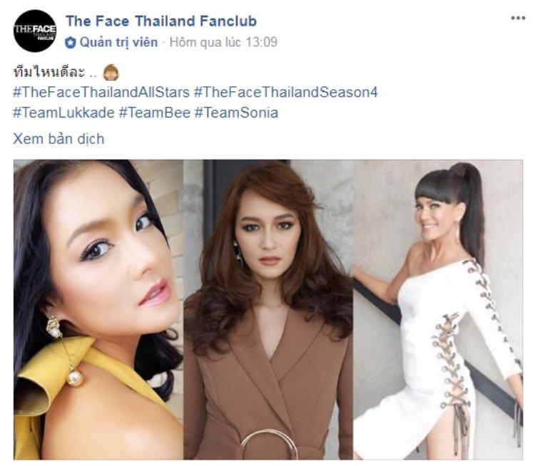 Cộng đồng fan của The Face Thái tin chắc Lukkade, Bee Namthip và Sonia sẽ là HLV của mùa giải All Stars.