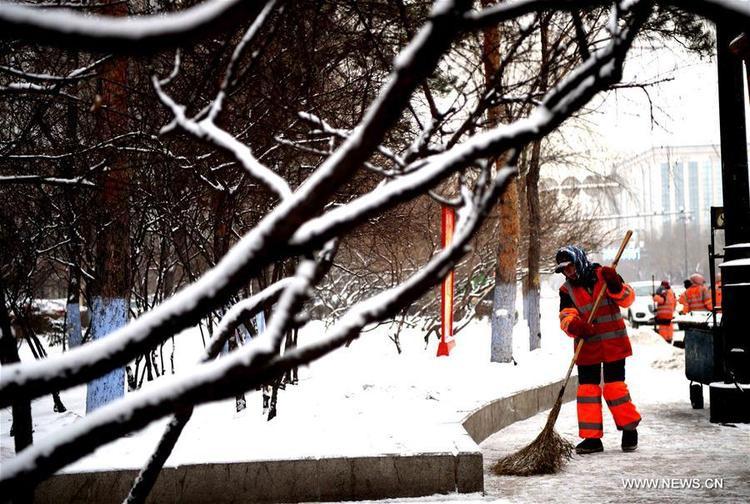Lần đầu tiên tuyết rơi ở thành phố Cáp Nhĩ Tân, Hắc Long Giang, Trung Quốc.