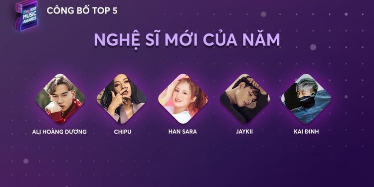 Ali Hoàng Dương, Han Sara lọt Top 5 Nghệ sĩ mới của năm ZMA 2017.