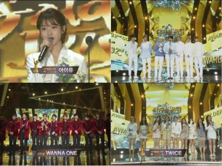 Bên cạnh đó, lễ trao giải cũng vinh danh nhiều nghệ sĩ nổi tiếng khác như IU, TWICE, Wanna One,…