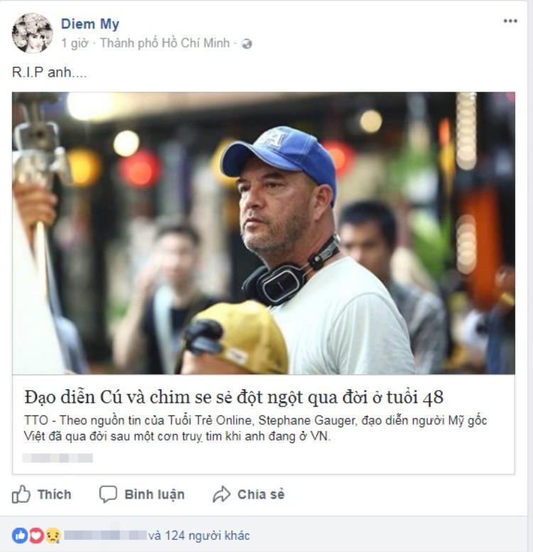 Diễm My bày tỏ niềm tiếc thương trên trang facebook cá nhân.