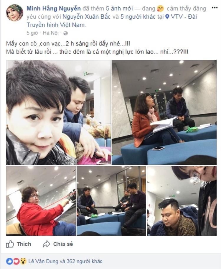 Nghệ sĩ Minh Hằng đăng tải hình ảnh hậu trường Táo Quân cho thấy niềm vui đoàn tụ cùng anh em nghệ sĩ sau thời gian dài vắng bóng.