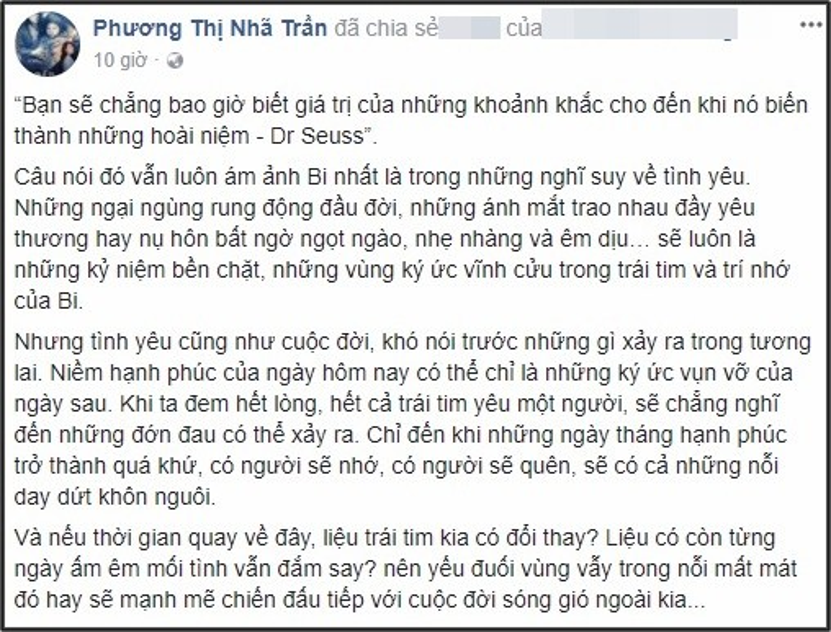 Dòng trái thái đầy ẩn ý của Nhã Phương trên trang Facebook cá nhân.