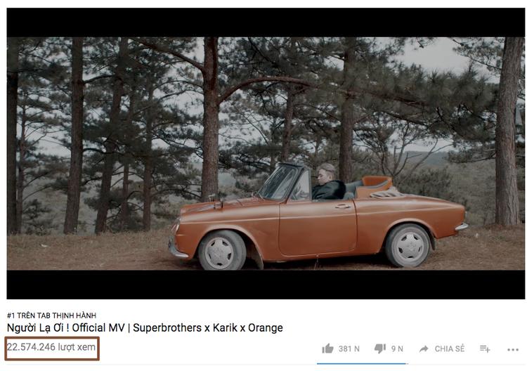 Lượt xem ấn tượng của MV Người lạ ơi sau 5 ngày lên sóng.