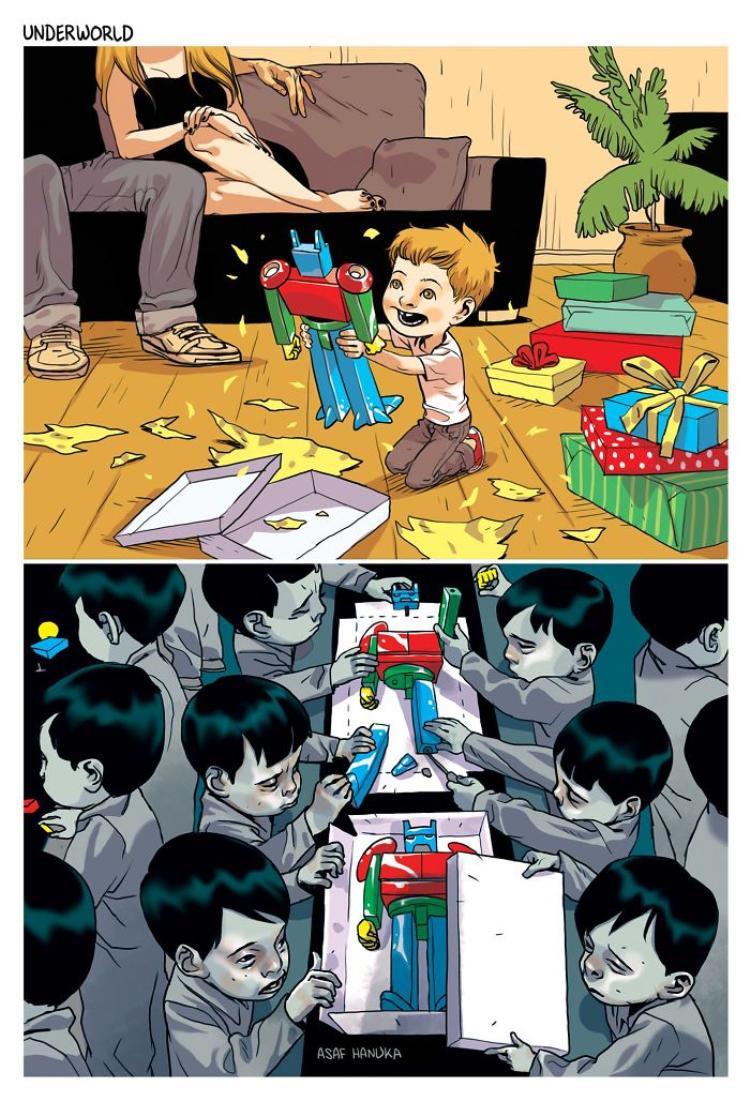 Trong khi một đứa trẻ này đang vui sướng vì nhận được món đồ chơi xa xỉ, thì ở đâu đó trên thế giới, có những đứa trẻ khác đang làm ra những món đồ chơi ấy trong môi trường rất khắc nghiệt.