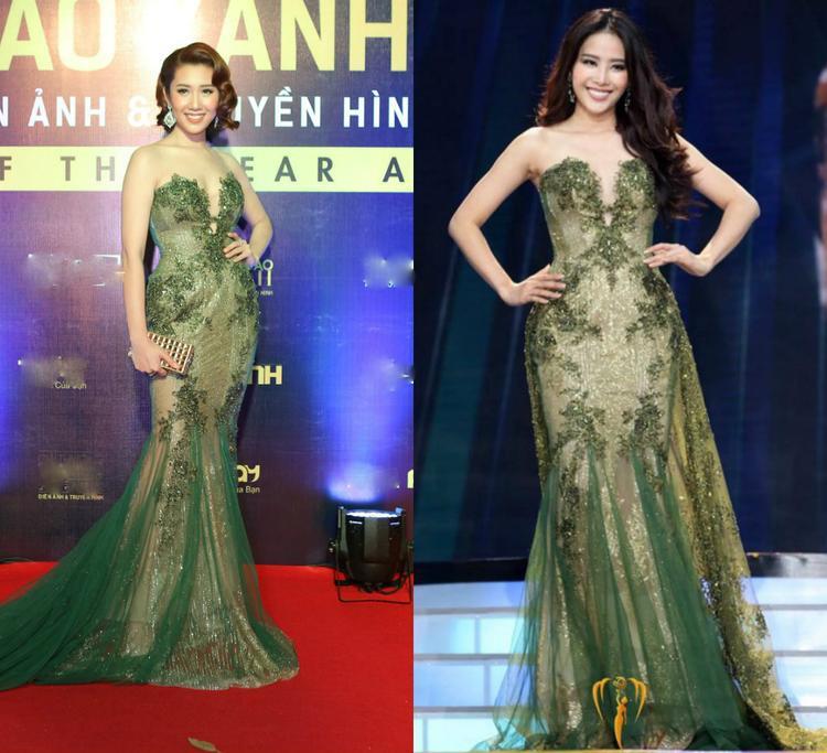 Cũng trên thảm đỏ, người đẹp Thúy Ngân lại chọn chiếc váy của Nam Em. Thiết kế này được hoa khôi Đồng bằng sông Cửu long mặc trên sân khấu chung kết Hoa hậu trái đất 2016.