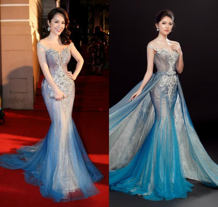 Dương Cẩm Lynh đã mặc lại chiếc váy từng được Á hậu Thùy Dung diện trên sân khấu Hoa hậu Quốc tế 2017.