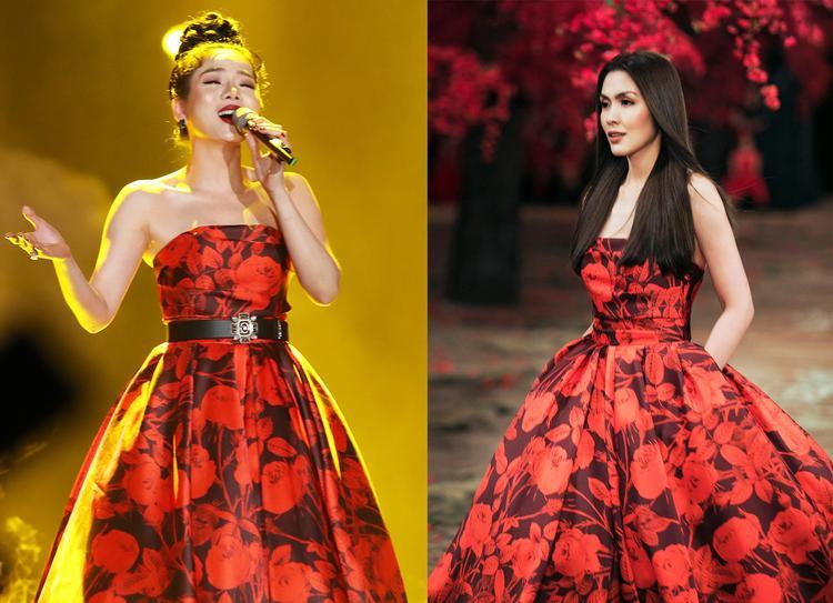 """Tuy có sự chung đụng trang phục nhưng phải công nhận, cả hai """"bóng hồng"""" showbiz đều vô cùng xinh đẹp và sang trọng theo cách riêng mỗi người."""