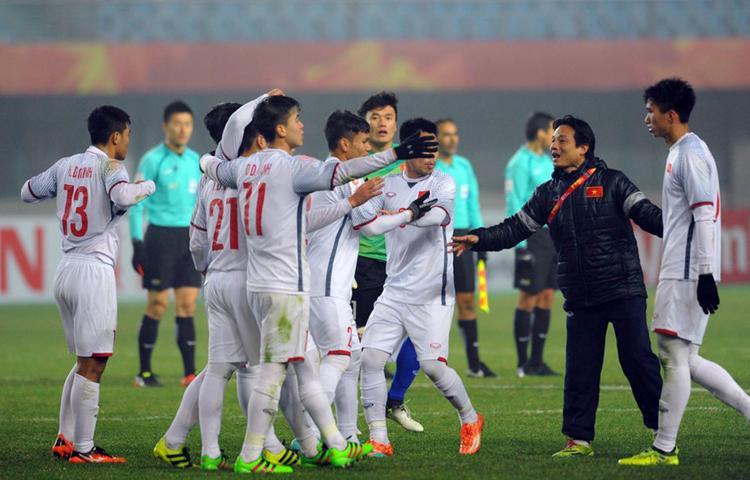 U23 Việt Nam giành vé vào tứ kết sau trận hòa nghẹt thở trước U23 Syria. Ảnh: AFC