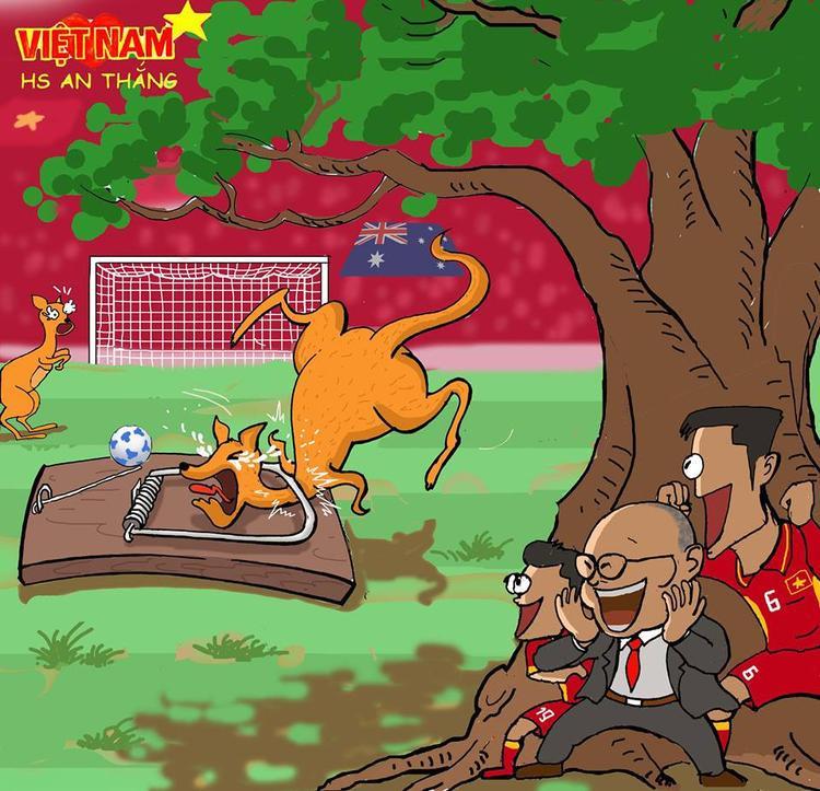 """Với triết lý """"biết mình biết ta, trăm trận trăm thắng"""", HLV Park Hang Seo và các học trò đã khiến """"chuột túi"""" Australia sập bẫy."""