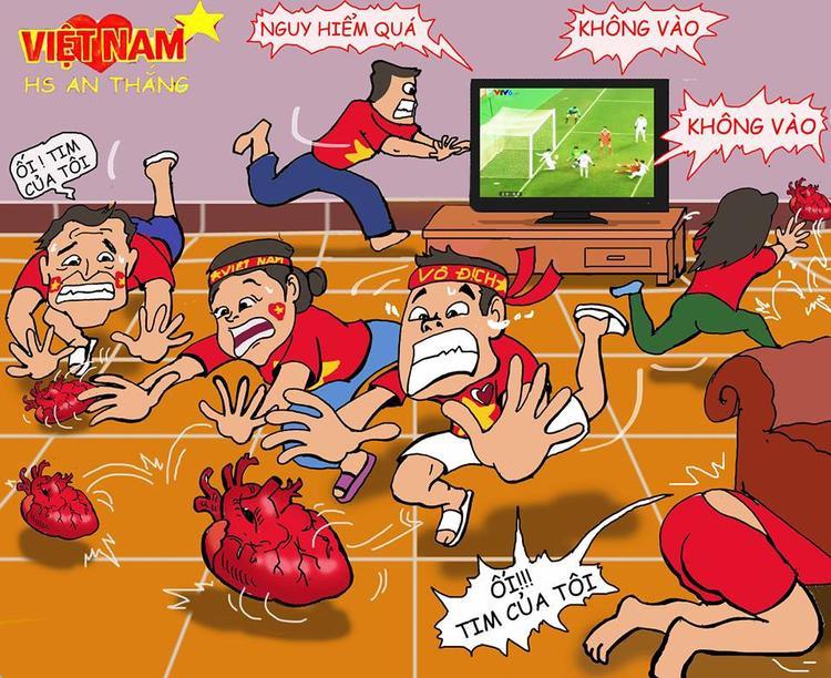 Trên sân các tuyển thủ lăn xả, quật cường, còn người hâm mộ thì… tim rớt tùm lum.