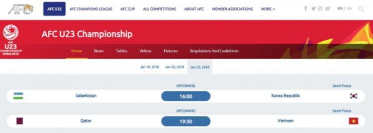 Trước đó, thông tin về giờ thi đấu trận U23 Việt Nam và U23 Qatar trên Google cũng bị nhầm sang 18 giờ 30 phút (giờ VN), thay vì 15 giờ (giờ VN). Dù vậy, sai sót này bắt nguồn từ chính trang chủ AFC.