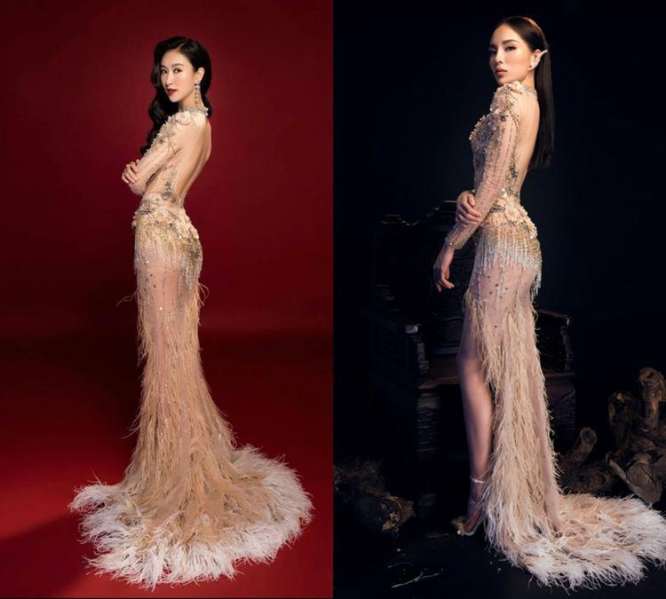 Thiết kế lưng trần được đính kết lông vũ kiêu sa mà Hà Thu và Kỳ Duyên diện khá nổi bật. Song hoa hậu Việt Nam 2014 lại nhỉnh hơn rất nhiều.