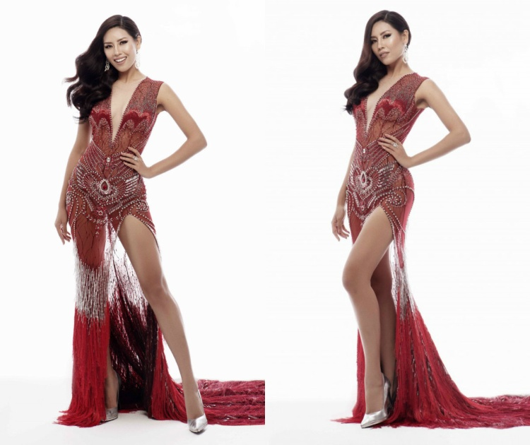 Một bất ngờ khác, thiết kế màu đen trên khá giống với chiếc váy đỏ từng được Nguyễn Thị Loan mang theo trong hành trình Miss Universe 2017 tại Mỹ. Hai thiết kế chỉ khác nhau về màu sắc.