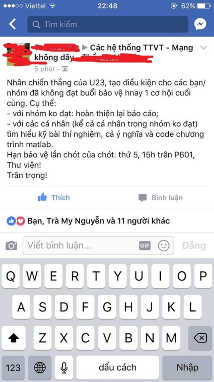 Nhờ chiến thắng của U23 Việt Nam trong trận tứ kết vừa rồi, rất nhiều sinh viên có nguy rớt được làm lại từ đầu…