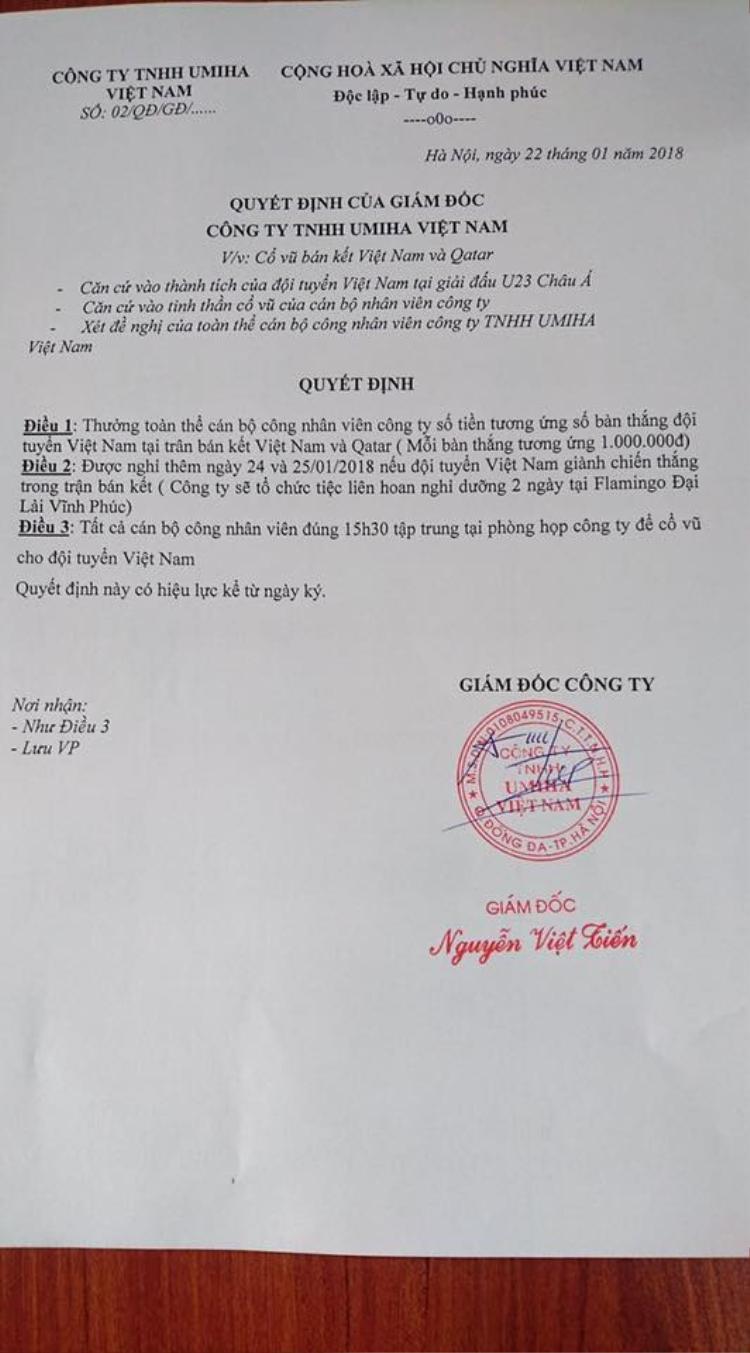 Các công ty chơi lớn, thưởng ngay cho nhân viên nếu tuyển U23 Việt Nam đá thủng lưới đội bạn, mỗi bàn thắng tương đương 1 triệu đồng!!!