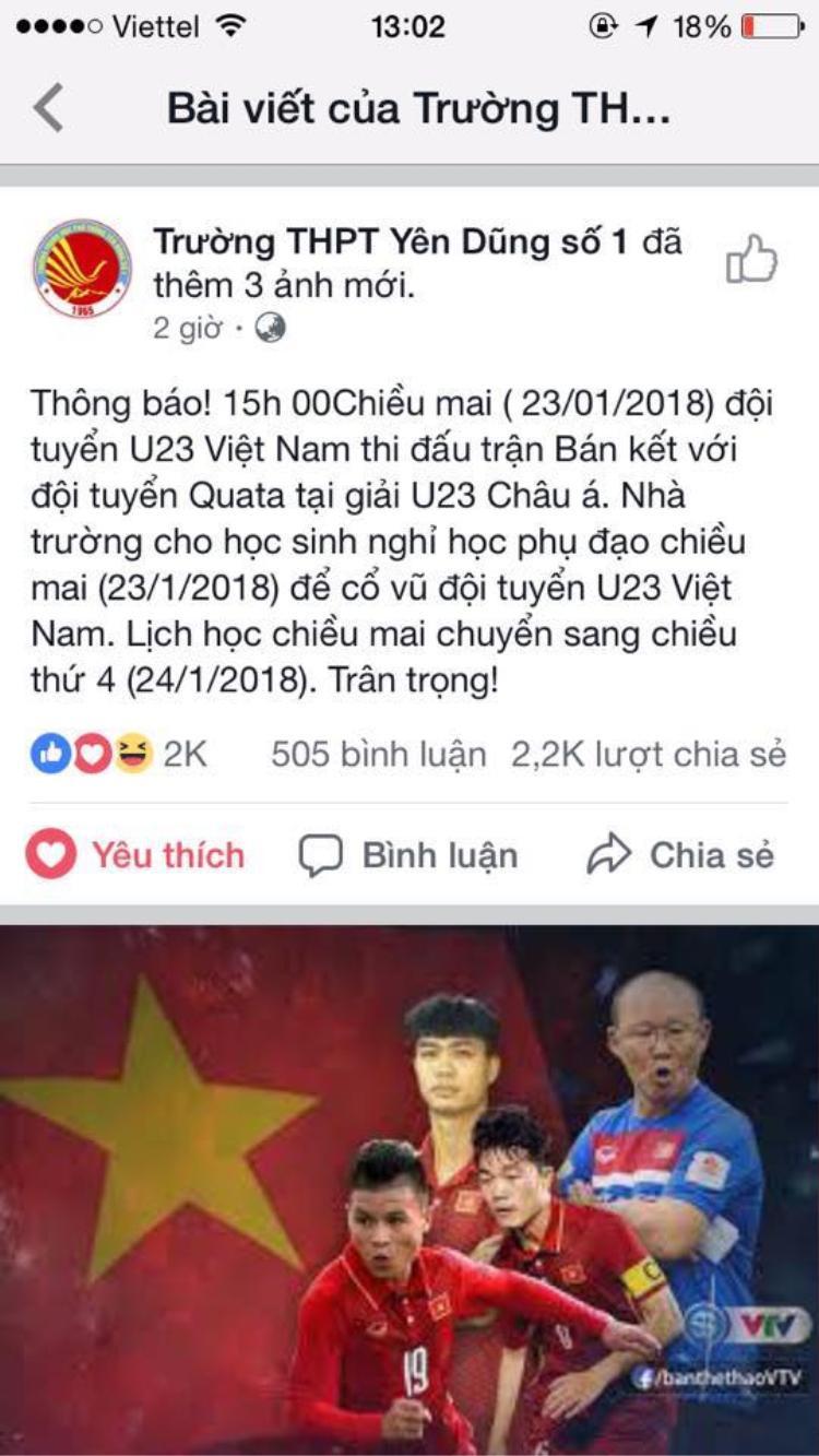 Không chỉ đại học mà các thầy cô ở trường cấp 3 cũng rất tâm lý khi cho nghỉ học phụ đạo để cổ vũ đội tuyển Việt Nam.