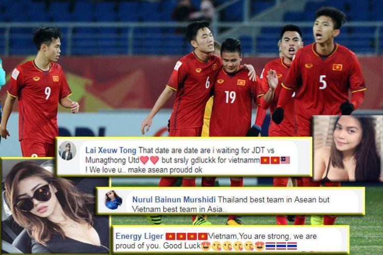 Nhiều fan nữ xinh đẹp cổ vũ cho U23 Việt Nam.