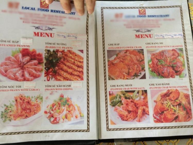 Nhà hàng khẳng định bán đúng giá niêm yết và những món khách hàng gọi.