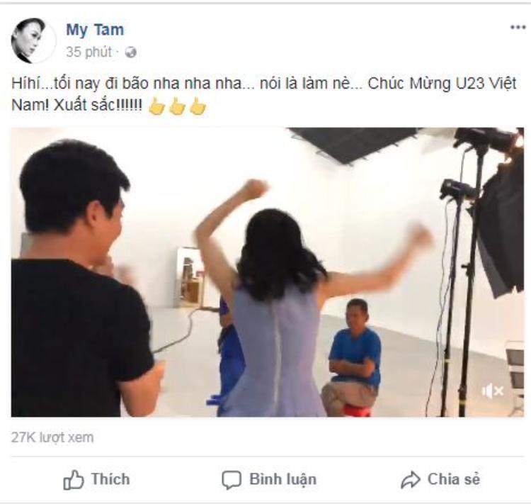 Mỹ Tâm chia sẻ niềm vui khi U23 Việt nam xuất sắc giành vé vào chung kết AFC 2018.