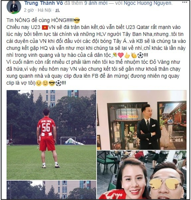 Đàn ông nói là làm: MC Thành Trung cởi đồ ăn mừng U23 Việt Nam vào chung kết AFC 2018