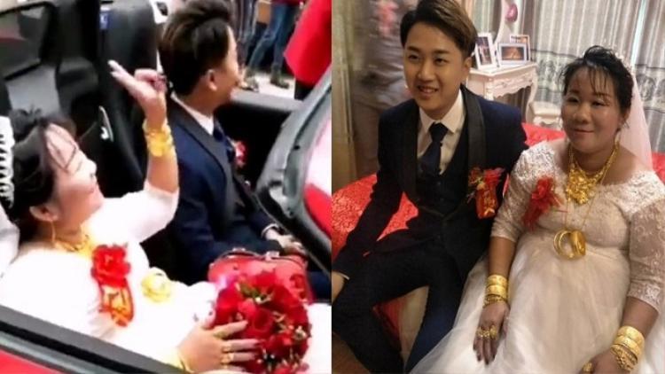 Trong những hình ảnh ghi lại được, có thể thấy trên người cô dâu đeo rất nhiều đồ trang sức.