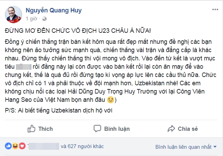 Dòng trạng thái gây bất ngờ của nhạc sĩ Quang Huy.
