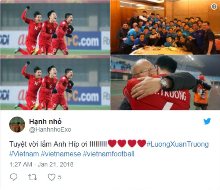 Khoảnh khắc các cầu thủ U23 Việt Nam giành chiến thắng trước U23 Iraq sau loạt đá luân lưu cân não đầy kịch tính. Ảnh: Twitter