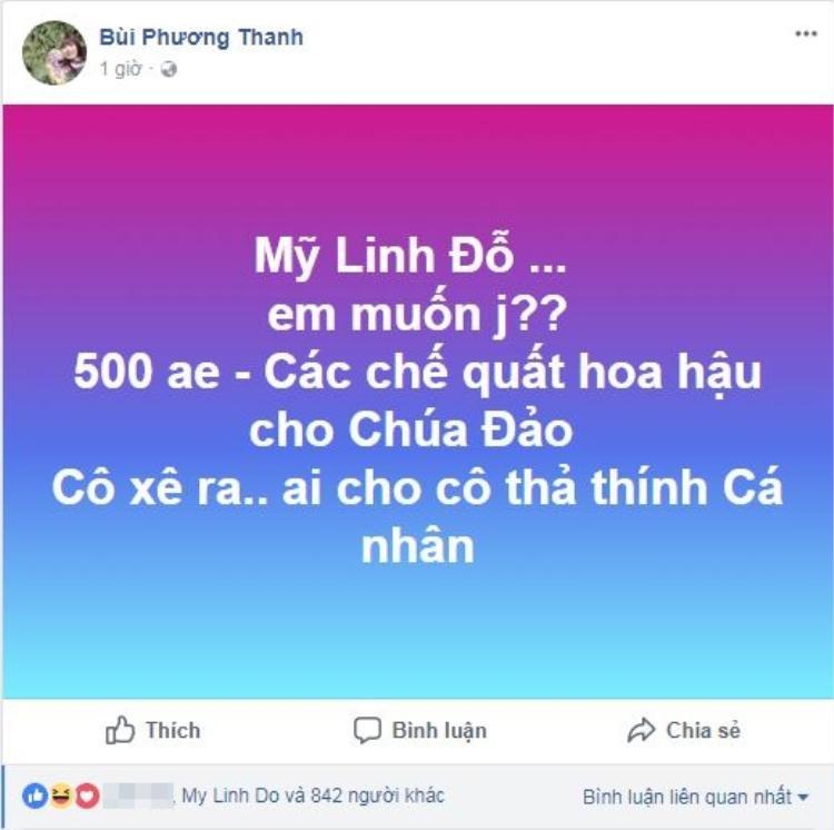 Dòng nhắn nhủ tới hoa hậu Đỗ Mỹ Linh được Phương Thanh chia sẻ trên trang cá nhân thu hút sự quan tâm của cộng đồng mạng.